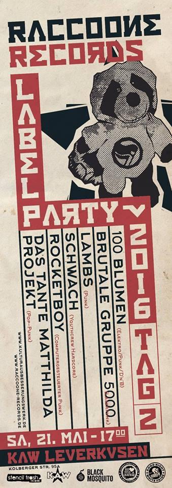 Flyer des Raccoone Records Labelfests